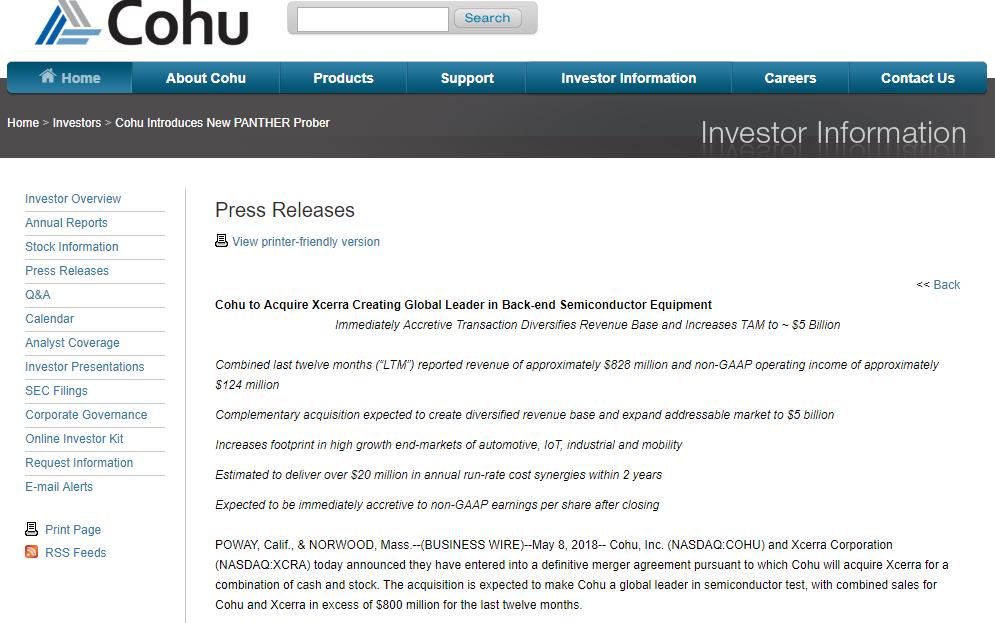与湖北鑫炎分手3个月后 Xcerra将以7.96亿美元卖给Cohu